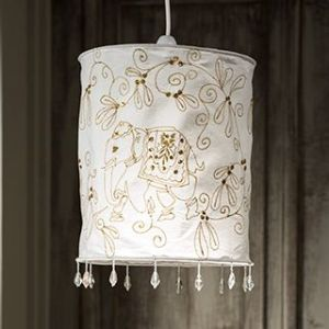 Lampshade~ Hippy Bohemian Elephant Cream Lampshade with Gold Embroidery~ By Folio Gothic Hippy L7